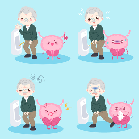 old man with prostate on the blue background Illustration