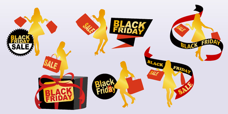 silhouette of woman take shopping bag with with black friday