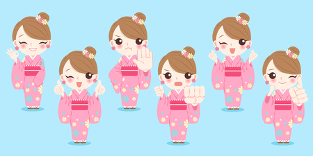 introduce: woman wear kimono with differnet gesture on the blue background