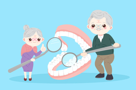 old people with tooth health problem on the blue background 矢量图像