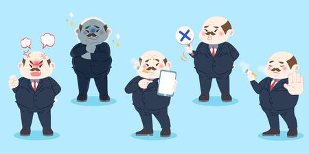 cute cartoon boss  on the blue background Illustration