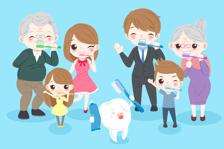 cartoon family with tooth on the blue background