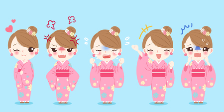 woman wear kimono with different emoji on the blue background Illustration