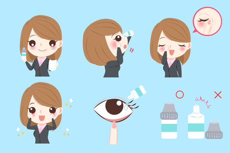 businesswoman with eye drops on the blue background Illustration