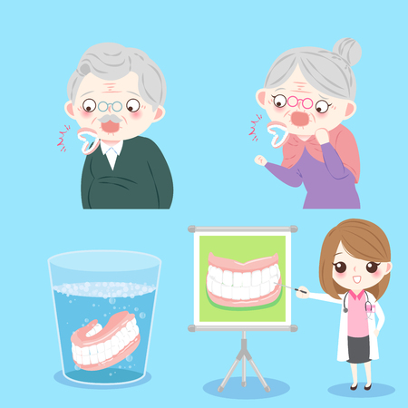 people with denture clean on the blue background