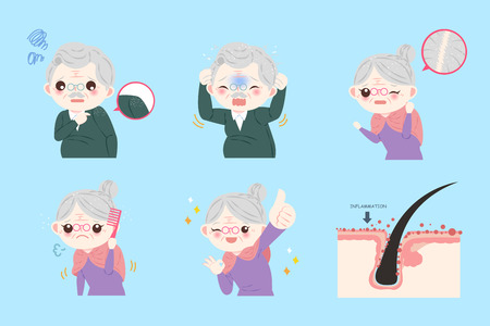 cute cartoon old people with dandruff problem Illustration
