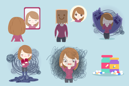 woman with depressed problem on the blue background Illustration