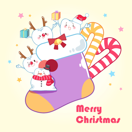 baby sick: tooth with merry christmas on the yellow background Illustration