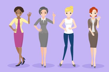 donna simpatico cartone animato con diverso gesto sullo sfondo viola