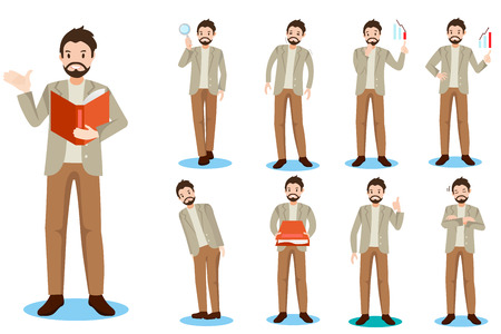 cartoon business man do different thing on white background Illustration