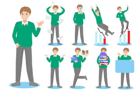cartoon man with different things on white background