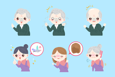 old people with hair concept on the blue background