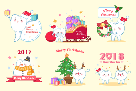 tooth with merry christmas on the yellow background