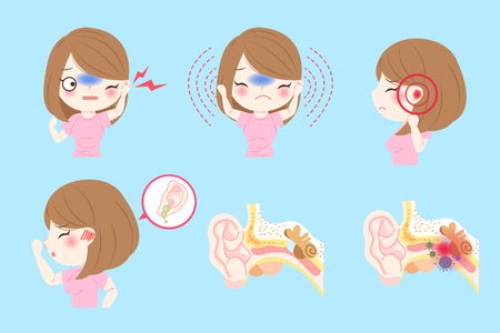 woman with otitis media on the blue background