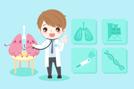 Cute cartoon doctors with lung health concept on blue background.