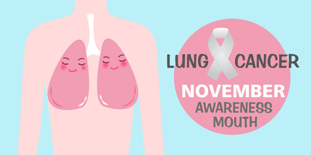 Lung with health concept on blue background.
