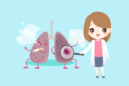 Lung with health concept on the blue background. Illustration