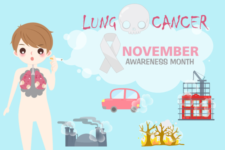 People with lung cancer concept on the blue background.