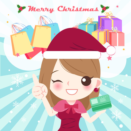 Cartoon woman with Christmas on the blue background. Illustration