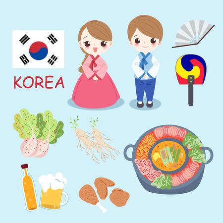 cartoon korea people on the blue background