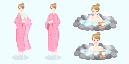bakground: woman with hot spring on the white bakground