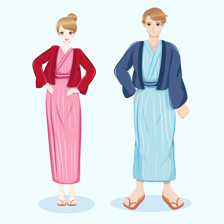 cute cartoon couple wear bathrobes on the white background Illustration