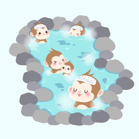 limestone: cute cartoon money enjoy with hot spring Illustration