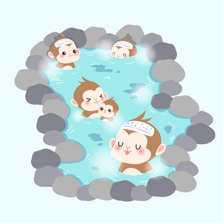 cute cartoon money enjoy with hot spring Illustration