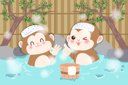 Cute cartoon money enjoy with hot spring. Illustration