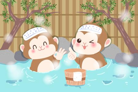 limestone: Cute cartoon money enjoy with hot spring. Illustration