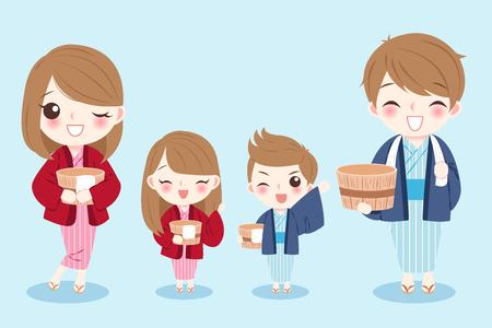 Cute cartoon family wear bathrobes on the blue background.