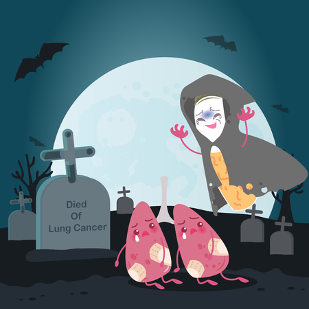 Cute cartoon lung with cancer for your health concept.