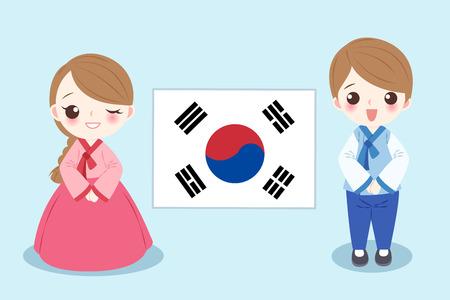 De mensen van beeldverhaalkorea op de blauwe achtergrond.