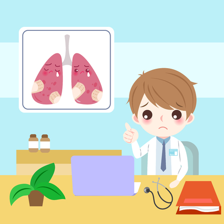 Doctor with lung health concept illustration.