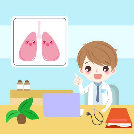 trainee: Doctor with lung concept illustration. Illustration