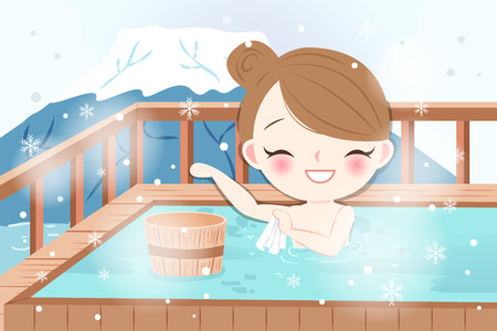 Woman in hot spring illustration.