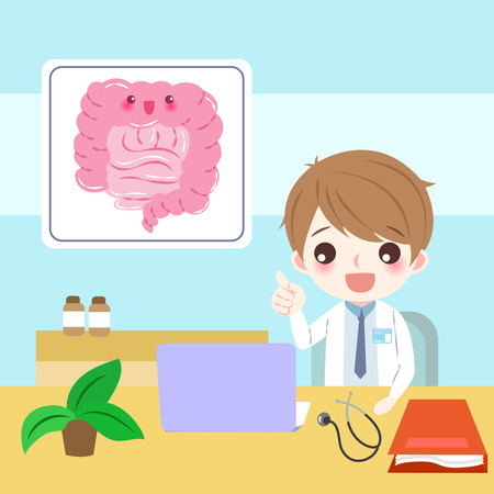 Doctor with intestine concept illustration.