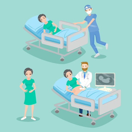 trainee: doctor with pregnant on the blue background