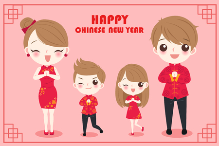 cartoon family with chinese new year on the red background