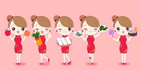 cartoon woman wear cheongsam with new year on the red background