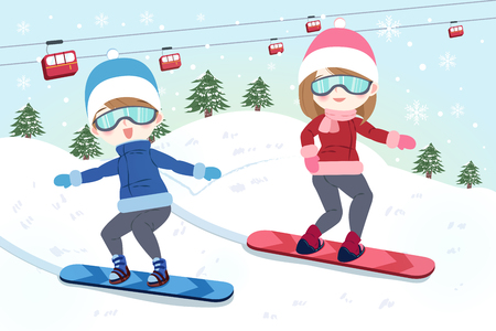 cartoon couple is snowboarding on the moutain