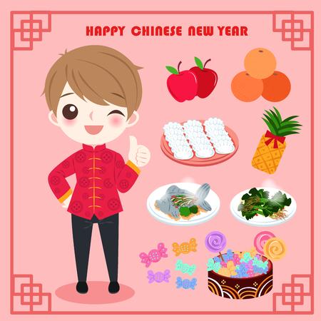 cartoon man met jaar gerechten op de rode achtergrond