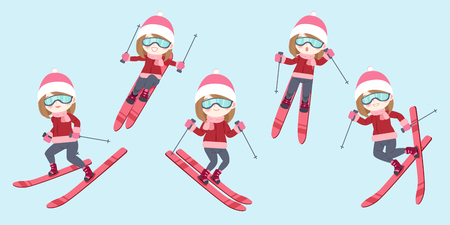 cartoon woman is skiing on the blue background
