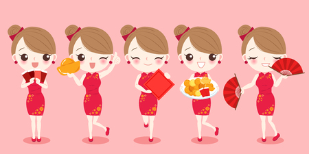 cartoon woman wear cheongsam with chinese new year on the red background