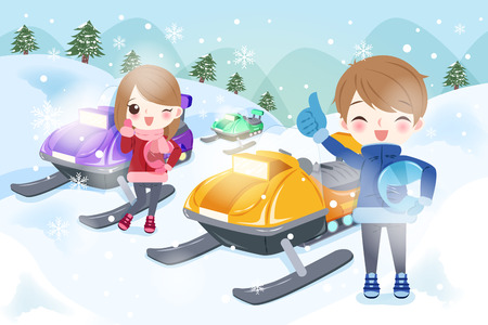 cartoon couple is snowmobiling on the moutain Illustration