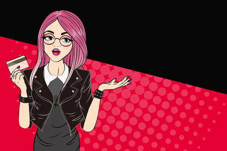 paying: pop of cartoon woman take credit card on the red background Illustration