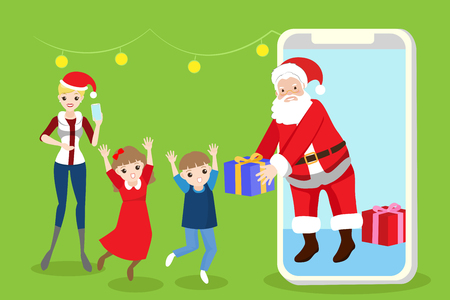 woman cellphone: cartoon family with christmas on the green background