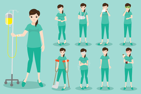 Cute cartoon patient on the green background. Illustration