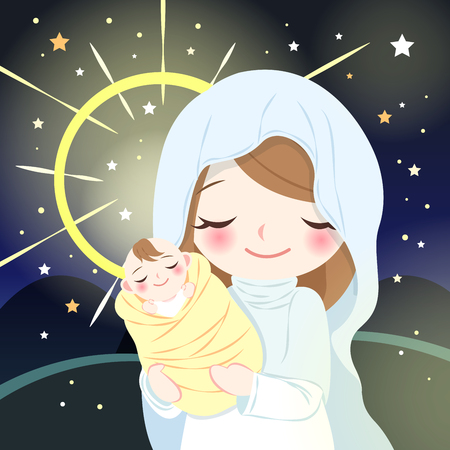 Cute cartoon virgin mary with baby Jesus