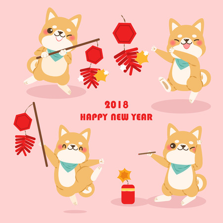 Cute cartoon dog  with 2018 new year background on  pink background